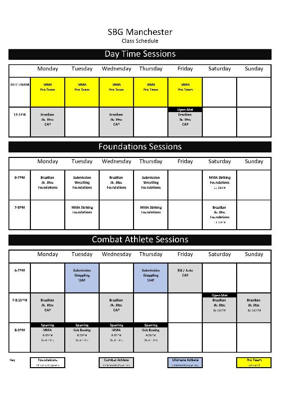 SBG Manchester Class Timetable